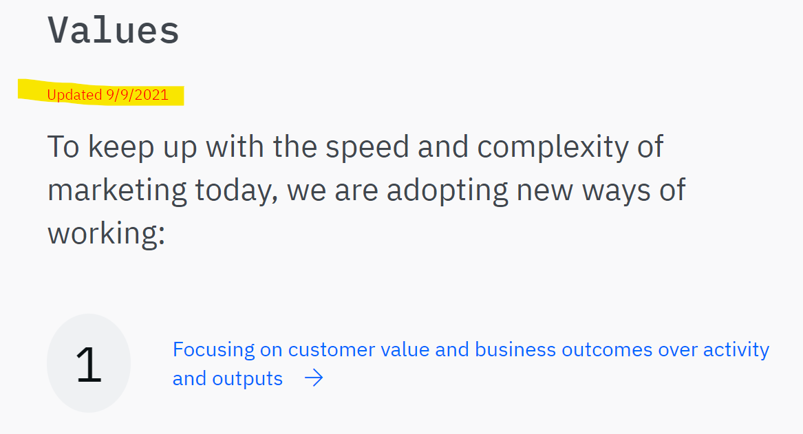 Agile Marketing Manifesto Values Updated 9-9-2021